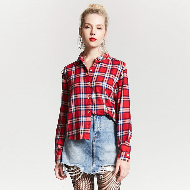 39ab9374b Red long sleeve turn down collar plaid shirts for women ladies autumn casual  preppy oversize loose basic button up blouses tops
