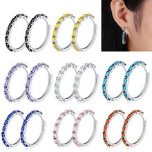 2019 New Occident Fashion Minimalist Circle Blue Black Pink Colorful Cubic Zirconia Loop Hoop Earrings for Women Small Hoops(China)
