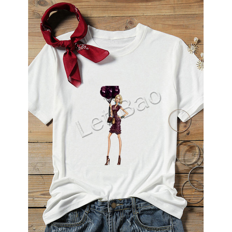 Hipster White T-shirt Lady Balloon Girl Drawing Friends Vogue Tees Summer 100% Cotton Soft O-Neck Vacation Casual Tops image