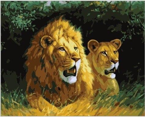 Online Shop The Best Photos Box Painting By Numbers DIY Original Digital Oil Present Decoration 40 X 50 Cm Lion Lover