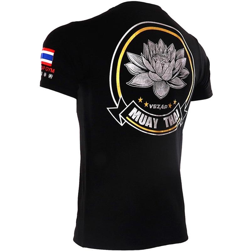 VSZAP Fitness Casual Men Tshirts Personality Printed Animal Kirin Lotus Short sleeved Muay Thai MMA Fighting T shirt UFC Sanda in T Shirts from Men 39 s Clothing