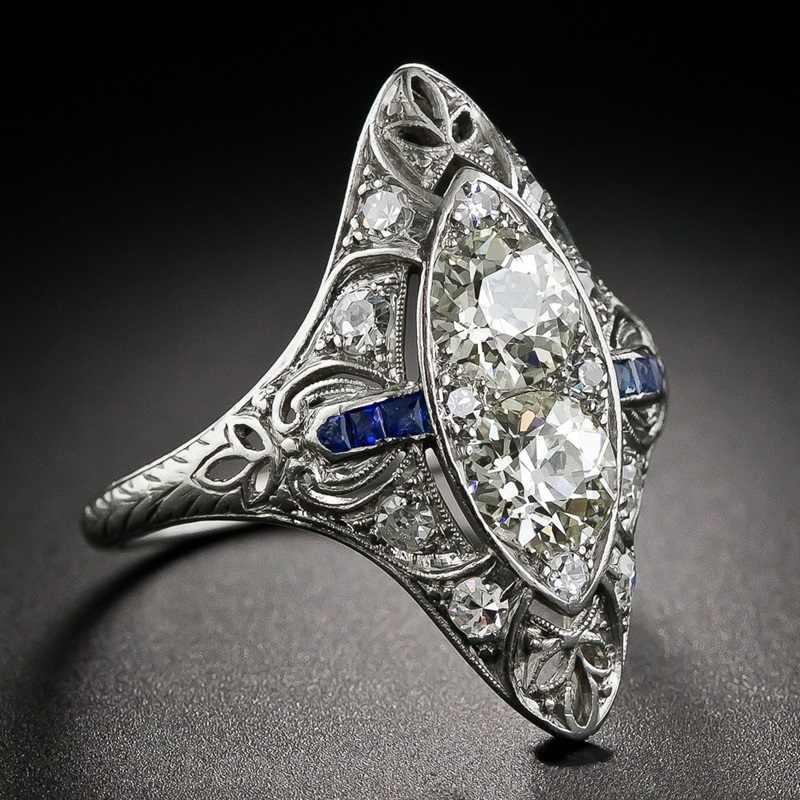 OMHXZJ hurtownie europejskiej moda kobieta mężczyzna Party prezent ślubny biały Vintage Topaz AAA cyrkon 925 Sterling srebrny pierścień RR217