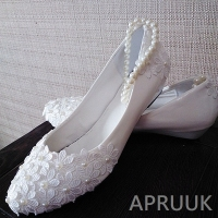 3CM wedges heel white lace wedding shoes for bride bridal bridesmaid ladies proms dress party dancing white lace shoes low heel