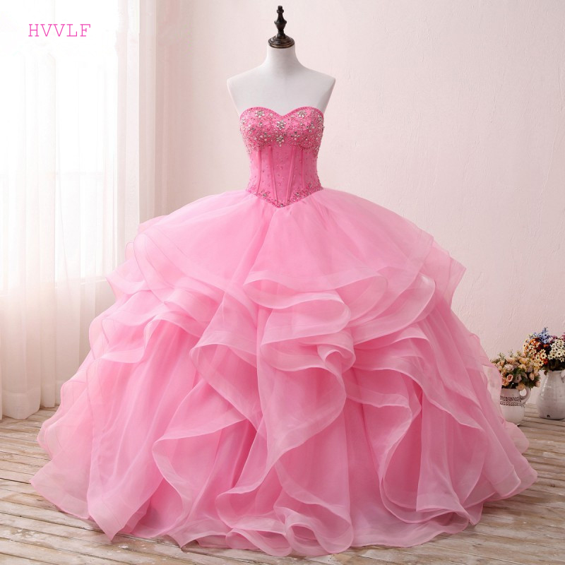 Pink Puffy 2019 Cheap Quinceanera Dresses Ball Gown Sweetheart Tulle Beaded Crystals Ruffles Sweet 16 Dresses