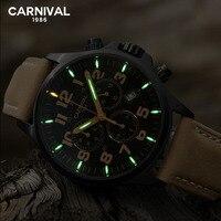 Carnival Mens Watches Top Brand Luxury Tritium Watch Men Sport Military Quartz Chronograph Wristwatch Luminous Clock erkek saat