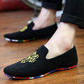 2017 men fashion slip-on Totem Printing flats shoes Nubuck Leather driving shoes men moccasins male boat loafers 7785
