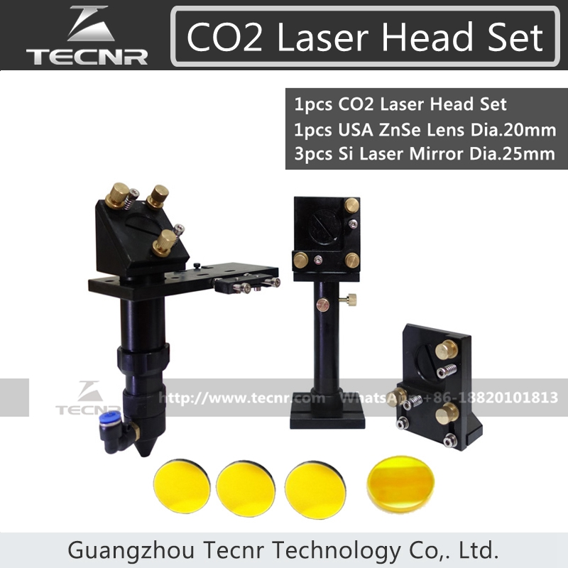 TECNR CO2 Laser Head Set CO2 + Reflective Si Mirror 25mm + USA Focus Lens 20mm for Laser Engraving Cutting Machine laser head engraving laser cutting head for 20mm laser focus lens 25mm laser mirror