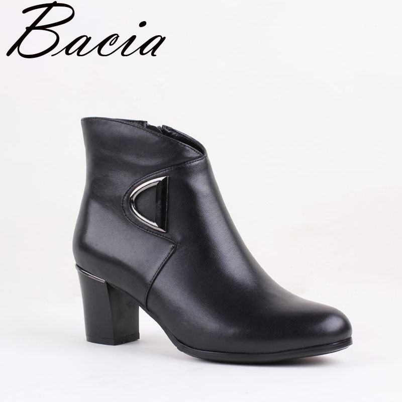 Bacia Retro Style Boots High Heels Round Toe Boots Autumn Fleece Shoes Genuine Leather Women Shoes Fashion Ankle Boots VB082 european style autumn genuine leather fashion ankle boots round toe zipper belt buckle high heels motorcycle boots women boots