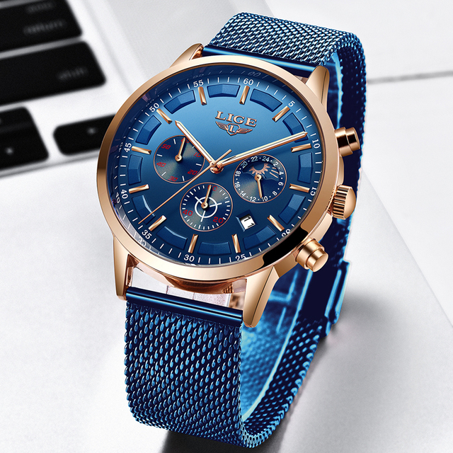 Relogio Masculino LIGE Luxury Quartz Watch for Men Blue Dial Watches Sports Watches Moon Phase Chronograph Mesh Belt Wrist Watch 1