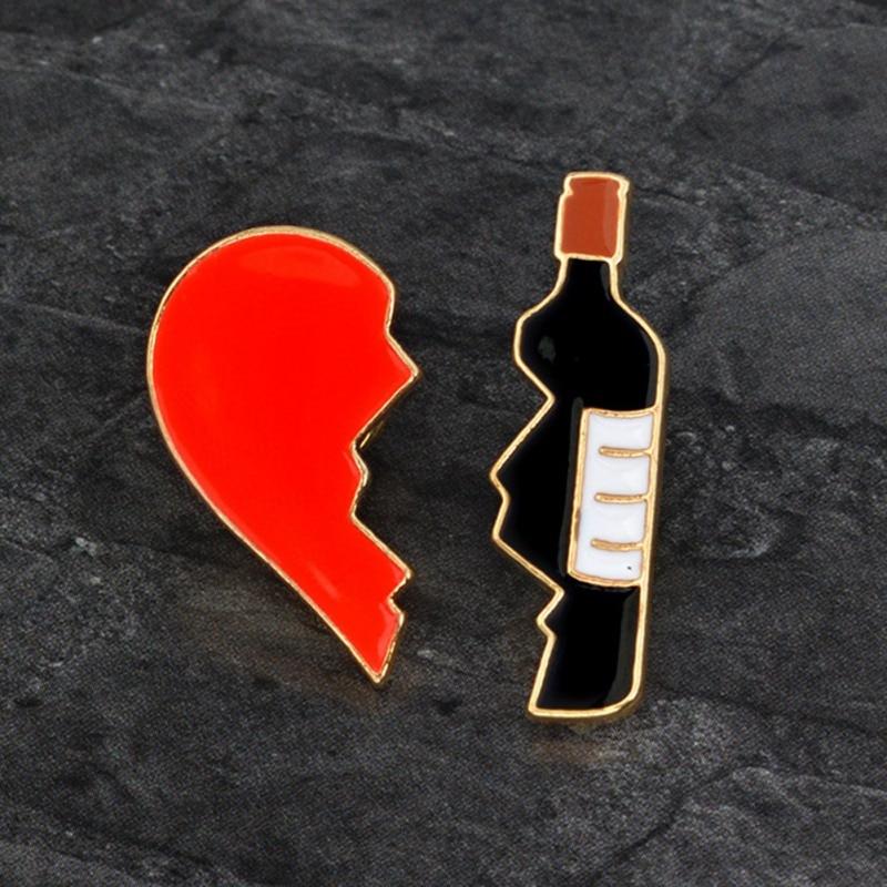 2 Pcs Set Lovely Enamel Broken Heart Bottle Shape