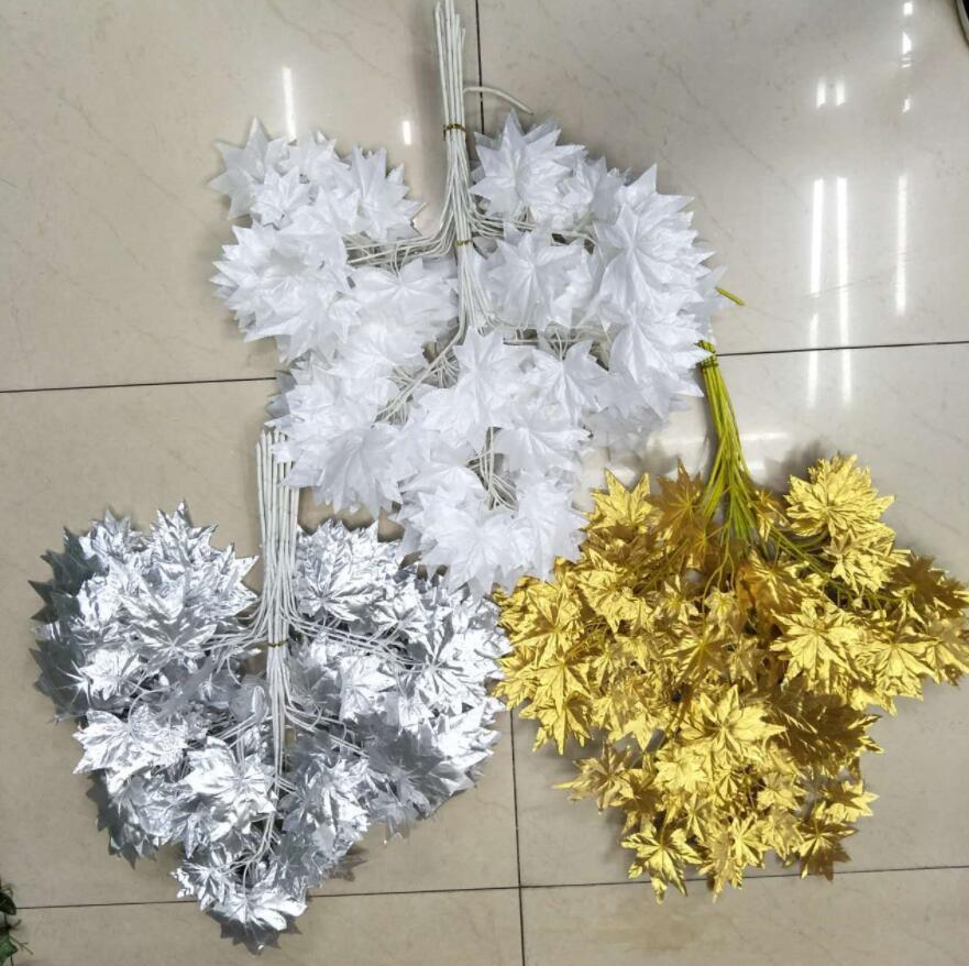 12pcs 60cm Artificial Maple Leaf Branch For Plant Wall Background Wedding Home Hotal Office Bar Decorative
