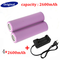 New 4pcs 18650 Rechargeable Li-ion Batteries 3.7V 2600mAh Lithium Li ion Bateria with 18650 Battery Charger Wholesale