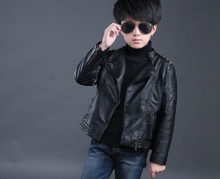 f915f0710f8f Faux Leather Jackets European and American Style Children Fashion ...
