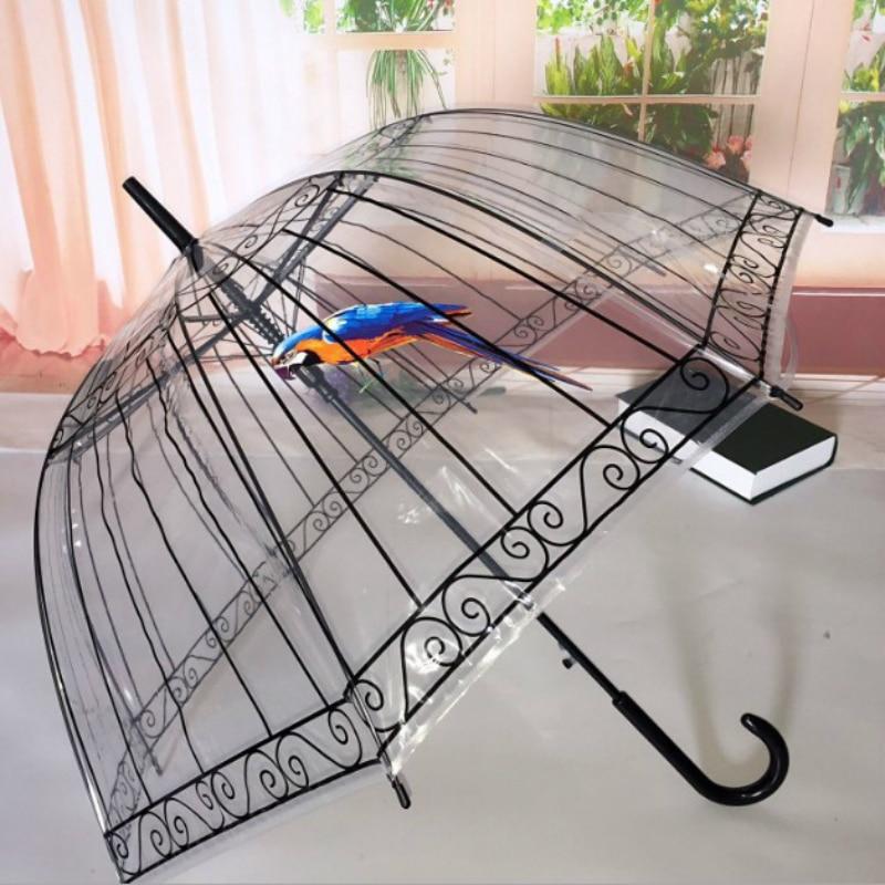 Transparent Lange-griff Regen Regenschirm Ultra Licht Frauen Kinder Sonnenschirm Regen Regenschirm Halbautomatische Weibliche Regenschirme YS081