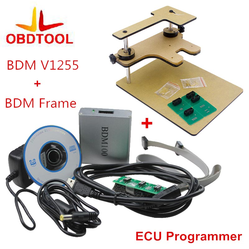ObdTooL BDM Frame Full Adapter + BDM100 Programmer OBD2 OBDII ECU Chip Tuning Tool BDM 100 V1255 Diagnostic Tool galletto 1260 obdii eobd ecu remap diagnostic chip flashing cable
