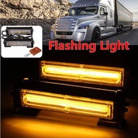 2X Amber COB LED Car Emergency Warning Flashing Flash Strobe Light Bar w/ Remote Yellow Lamp