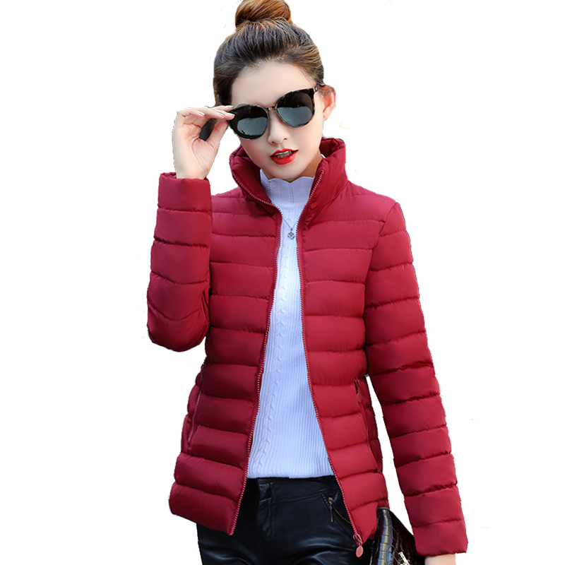 Women Winter   Basic     Jacket   Stand Collar Solid Color Autumn Female Coat Outwear Ladies Casaco Feminina Inverno