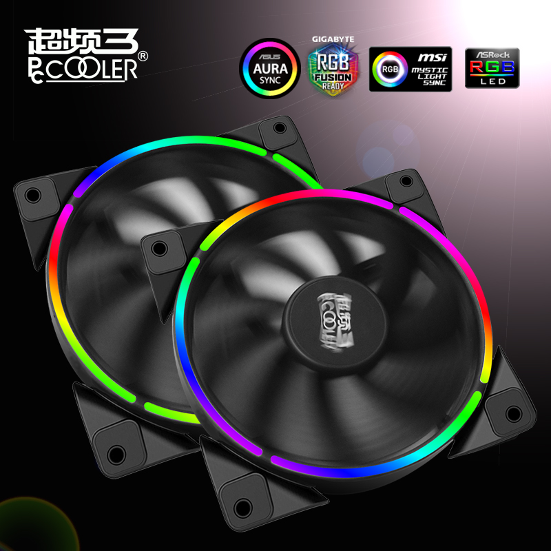 Pccooler universal 12cm case fan Halo LED AURA RGB 4pin PWM Quiet Suit for CPU cooler Liquid cooler 120mm computer cooling fan pccooler 12cm computer case cooling fan quiet cpu and power cooler fan cooling radiator fan 120mm computer pc chassis fan silent