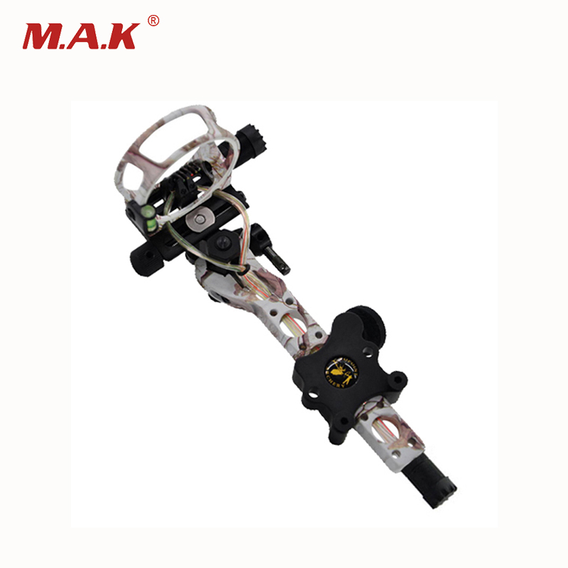 1pc 5 Color Compound Bow Sight 5 Pins 0.019 with Micro Adjust Detachable Bracket TP7550-CAMO for Bow Archery Shooting 4 color compound bow sight 1 pin 0 019 with quickly adjust detachable bracket tp9510 camo for hunting shooting archery
