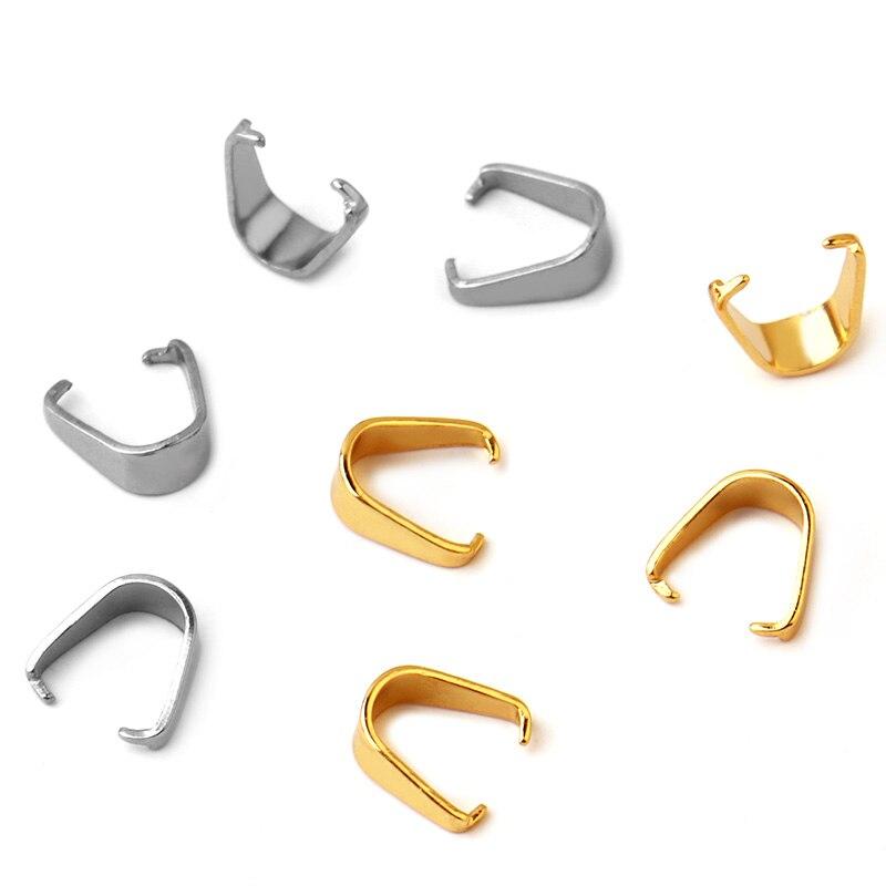 100 Uds (No se decolora) 3*7/4*9/5*10MM colgante de acero inoxidable Pinch Bail broches tono plateado para accesorios de joyería DIY