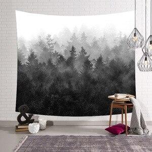 Negro bosque niebla naturaleza habitación Color hogar exterior decorativo exterior tapiz sábanas colgantes de pared Picnic paño decoración regalo