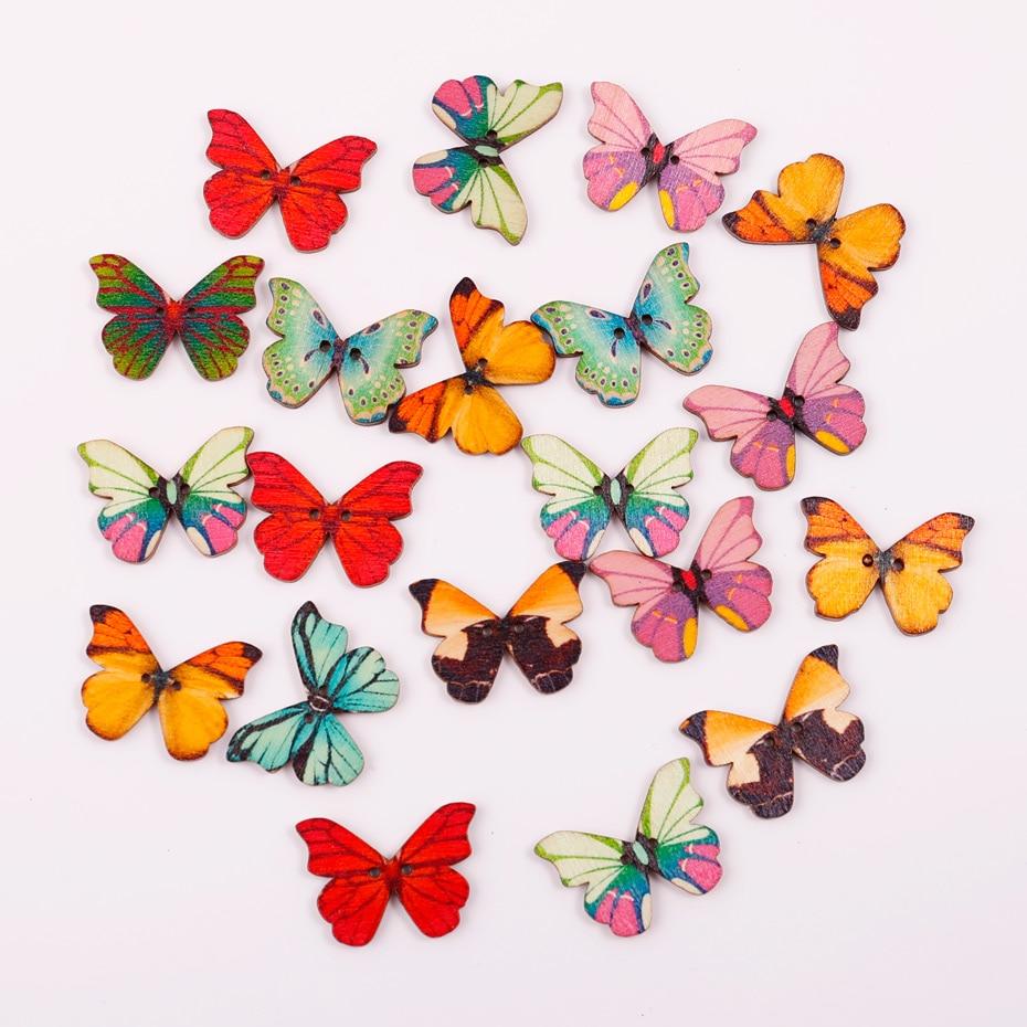 Ev Ve Bahce Ten Dugmeler De 100 Adet Renkli Kelebek Desen Mix