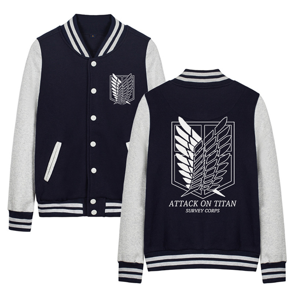 Attack on Titan Shingeki no Kyojin Scout Legion Golden Print Baseball Uniform Cosplay Costumes Jackets Thick Warm Hoodie Coat