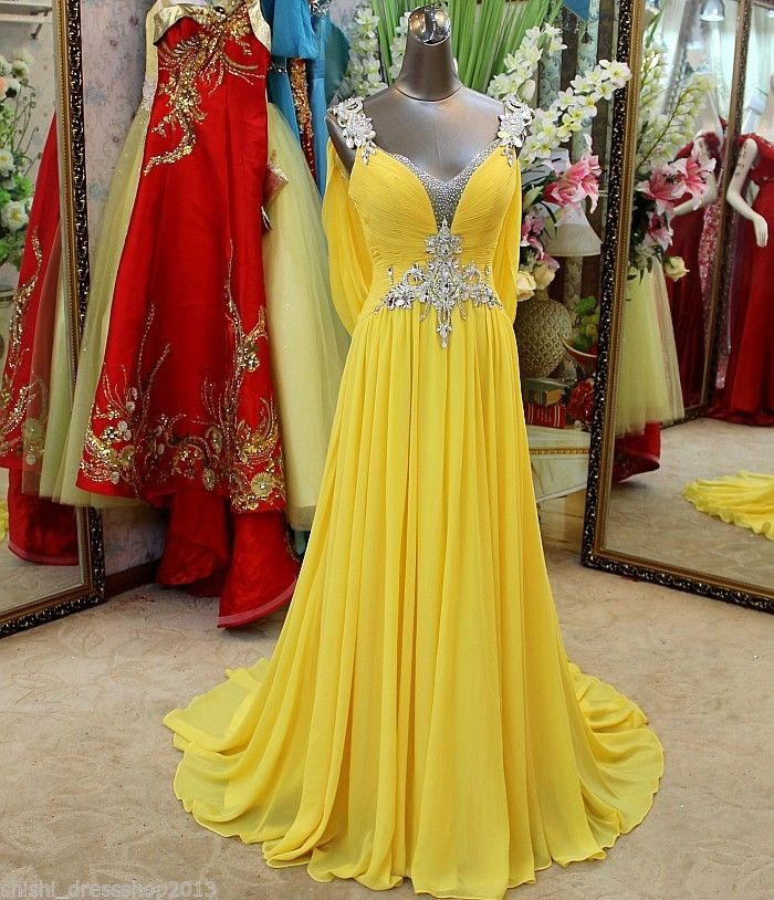 V-neck Rhinestones Yellow Chiffon Long   Prom     Dress   Beading V Open Back with Long Train Evening   Dress