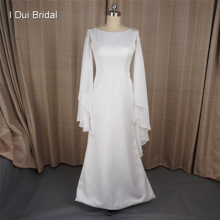 A line Simple Elegant Wedding Dresses with Cape Chiffon Scarf Greek ...