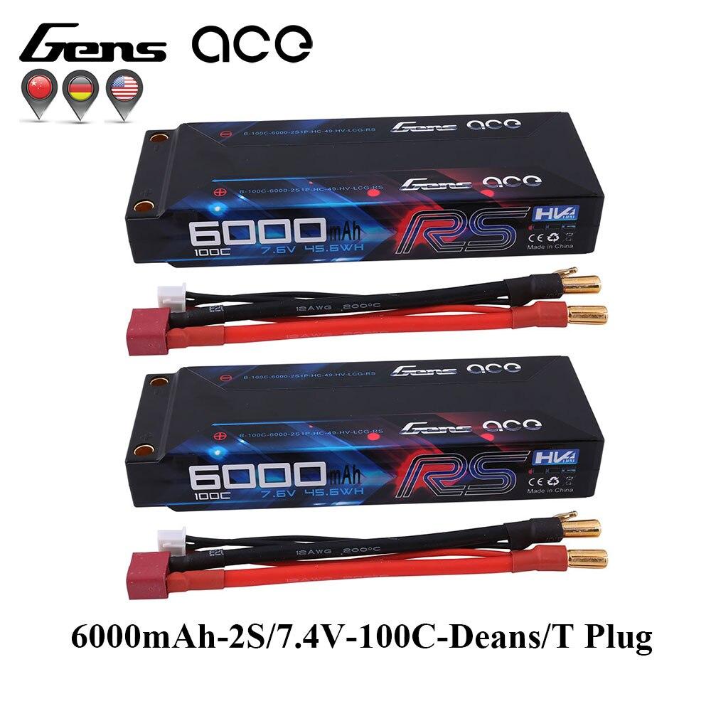 2 PCS Gens ace 100C-200C RC Batterie De Voiture 7.4 V 6000 mAh Batterie 2 S T Plug pour 1/8 1/10 Voiture Bousculade Modèles IFMAR Racing Batterie