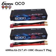 2 шт. Gens ace 100C-200C RC автомобиль Батарея 7,4 В 6000 мАч Батарея 2 S T штекер для 1/8 1/10 stampede моделей автомобилей IFMAR Racing Батарея