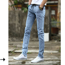 Fashion 2017 Summer Casual jeans washing male thin little leg mens elastic waist rope Teenagers Jeans Pencil pants Men