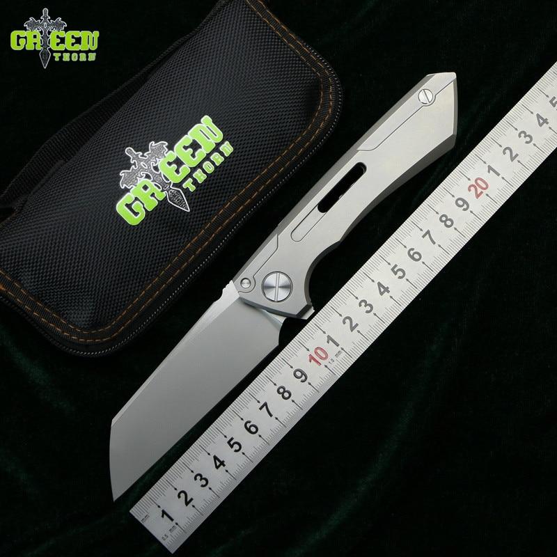 Espinho verde SNECX BUSTER lâmina de faca dobrável M390 TC4 titanium lidar com junta de Cobre ao ar livre camping utility fruit faca ferramenta EDC