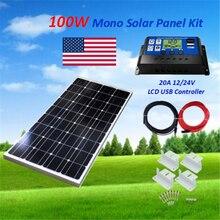 100 Вт монокристаллическая солнечная панель 1x100 Вт солнечная панель комплект система Off-Grid с 30A Контроллер заряда для 12 В батареи RV