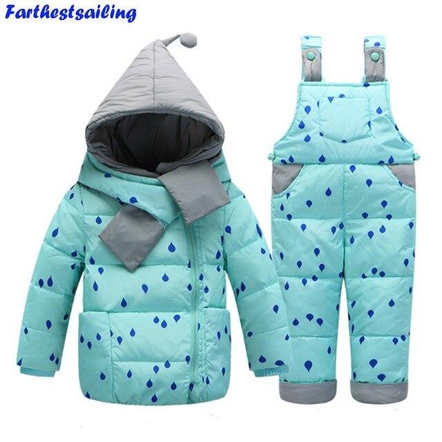 c19803069 Baby Snowsuit Children Clothing Set White Duck Down Jacket+Jumpsuit ...