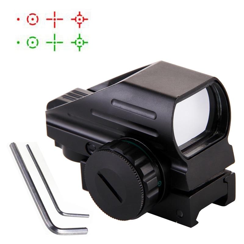 Chasse Optique 1x22x33 Compact Reflex Red Green Dot Sight portée 4 Réticule Sight pour Airsoft Avec Weaver 20mm Mont