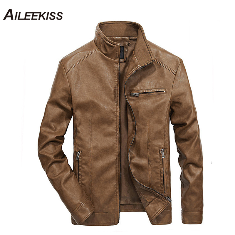 2019 Men Solid Casual Moto Biker Leather Jackets Man Bomber Jacket Male Outwear Coat Autumn Pilot Jacket Mans Cool Jacket XT451