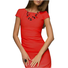 ADW 2017 NEW sexy summer dress Lady Casual vestido Bodycon Elegant short sleeve o-neck Party evening club midi dress -Red,L