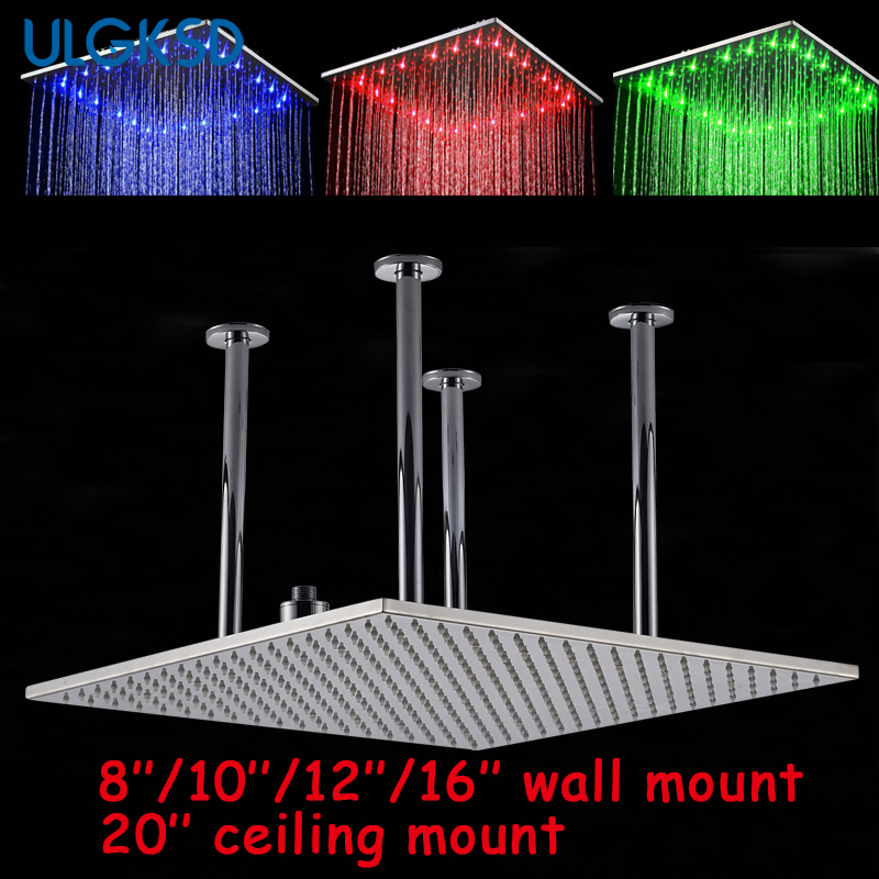 Ulgksd Bathroom Chrome Brass Rainfall Shower heads 8''/10''/12''/16''20'' Shower Head shower faucet Bath para bathroom faucets цена