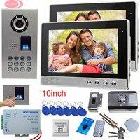 SUNFLOWERVDP Video Door Phone Intercom 2 Monitor Fingerprint Rfid Electric Door Lock 10Inch Video Doorbell IP65