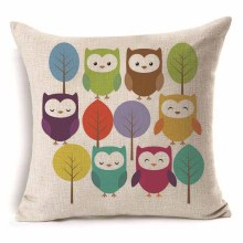 45*45 cm Colorful Cute Owl Pattern Cotton Linen Throw Pillow Cushion Cover Car Home Sofa Decorative Pillowcase