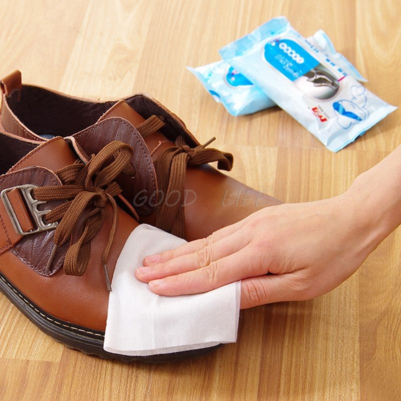 Free Shipping 1Bag(10pcs) Disposable Wet Wipes Leather Shoes Sandals Cleaning Tissue Portable