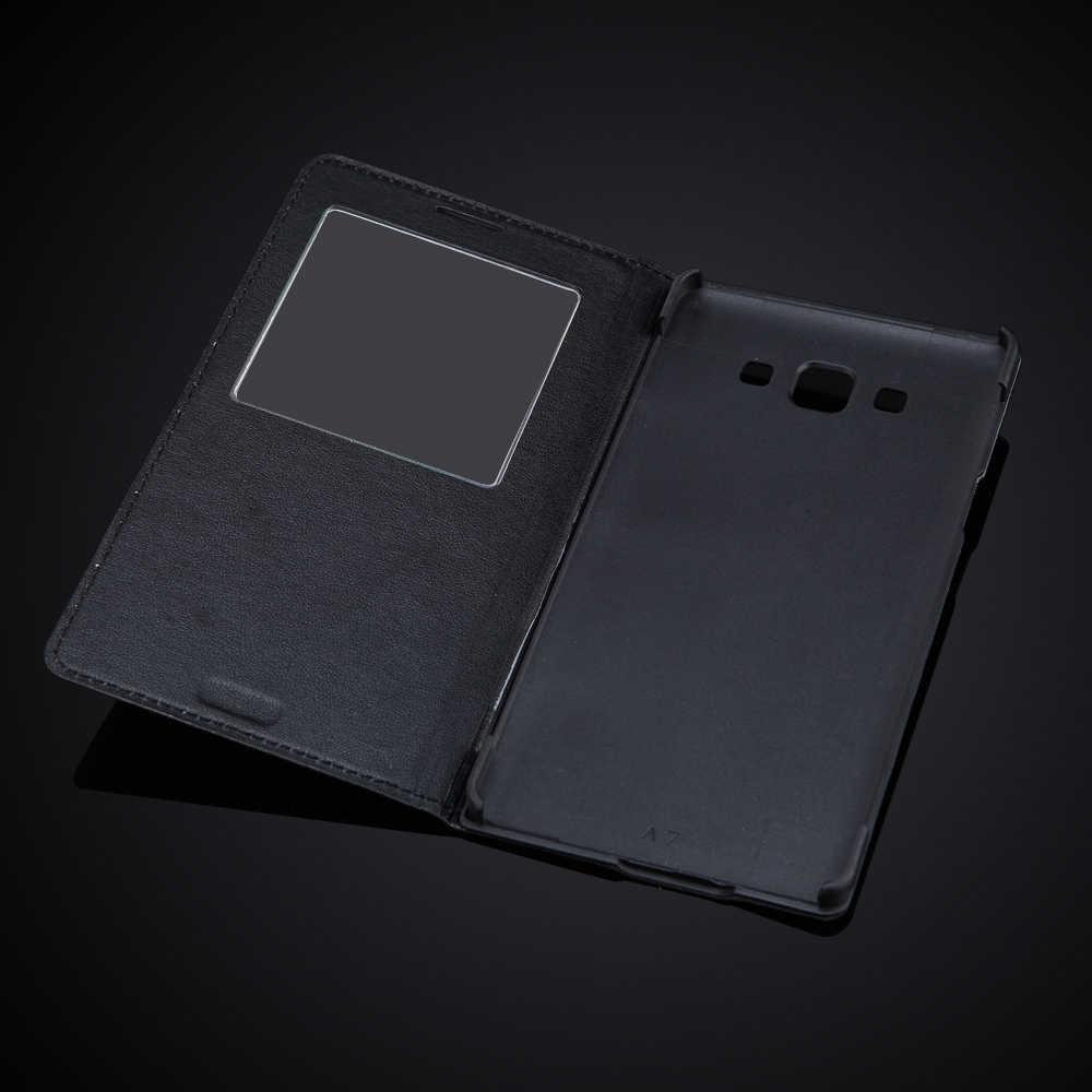 オリジナルフリップ Pu レザーケース三星銀河 A7 A7000 A700 A700F ラグジュアリービューウィンドウスマートスリープ/スリープ解除電話バッグカバー