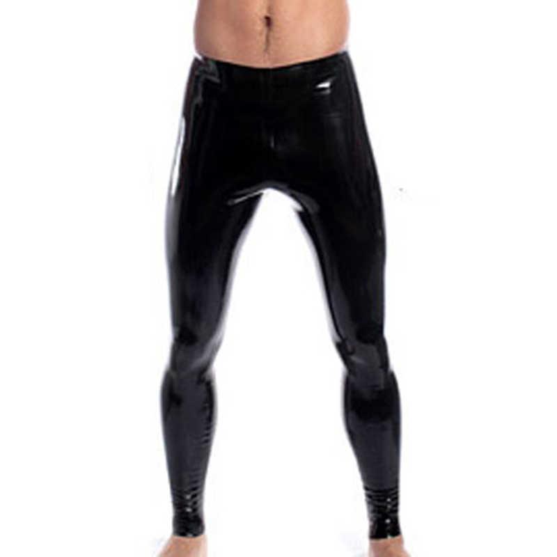 Tinggi Elastis Pria Hitam Kulit Imitasi Lateks Pensil Legging Wetlook Diikat Celana Gay Pria Fashion Ketat Petinju Pakaian Dalam XS-XXL