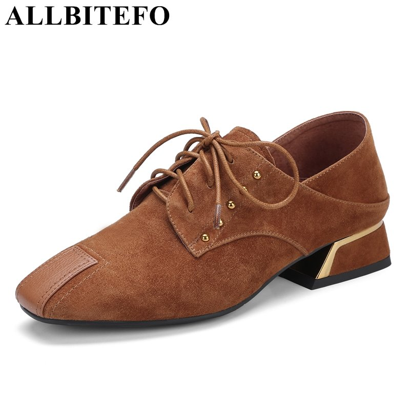 ALLBITEFO thick heel full genuine leather square toe spring high heel shoes fashion brand medium heel women pumps high heels new women s high heels pumps sexy bride party thick heel round toe genuine leather high heel shoes for office lady women t8802