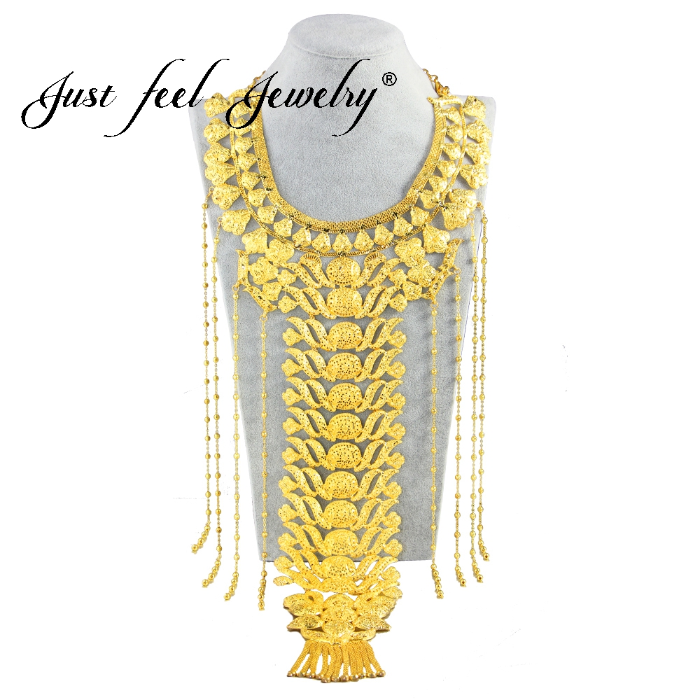 JUST FEEL Ethiopian Bride Wedding Jewelry Gold Color Tassel Long Necklace Big Round Necklace Dubai/African/Nigeria/Arab Gifts