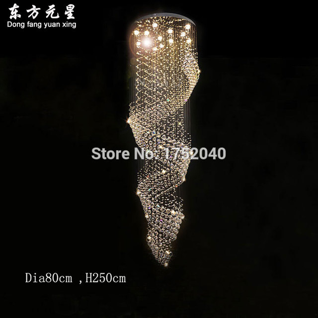 crystal chandelier stair light lustre spiral luxury project lighting various sizes