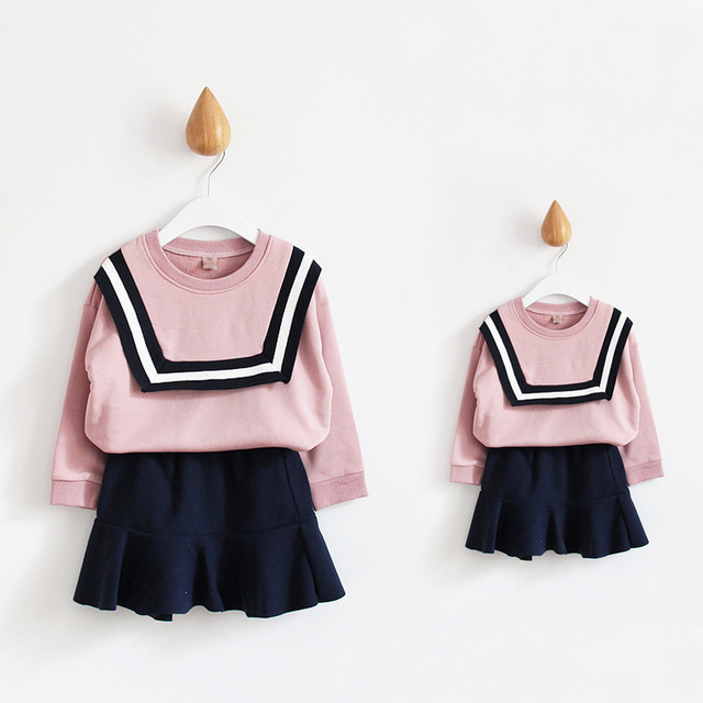 2016 Preppy Style Cotton Mother And Daughter Clothes Sets Autumn Solid Ladies Sweater+Skirts Sets Long-Sleeve Mother Daughter