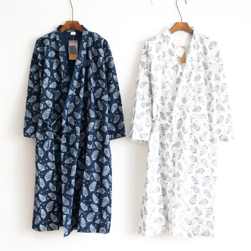 Male Spring Summer Robe 100% Cotton Gauze Leaf Loose Fashion Comfortable Leaves Kimono Robes Home Clothing Nightly Bathrobes