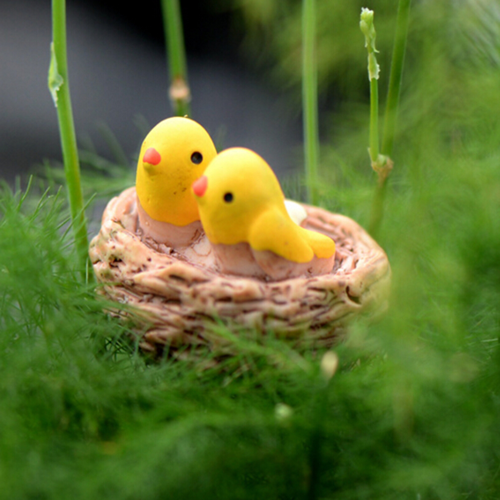Mini Nest With Birds Fairy Garden Miniatures Gnomes Moss Terrariums Resin Crafts Figurines For Home Decoration Accessories